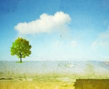 Surreal landscape with single tree - stock illustration