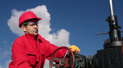 Oil Rig Worker at Work Stock Footage