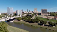 Aerial of Fort Worth from Trinity Trails w/downtown Trinity River 7th st. bridge Stock Footage
