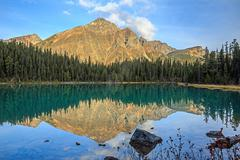 Edith Cavell Lake in Canadian Rockies - stock photo