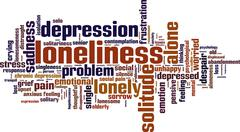 loneliness word cloud - stock illustration