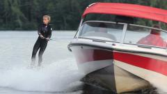 Young Girl On Wakeboard - stock footage