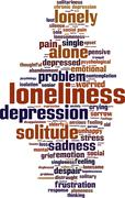 Loneliness word cloud Stock Illustration