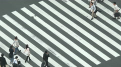Busy Shibuya Pedestrian Crossing From Above  - , Tokyo Japan Stock Footage