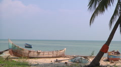 Boats at the coast at Rameswaram in Tamil Nadu, India Stock Footage