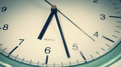 Clock hands ticking, macro shot from above, time is 6.27 Stock Footage