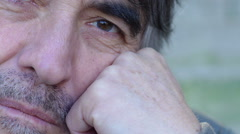 sad man portrait: closeup footage on his face expression - stock footage