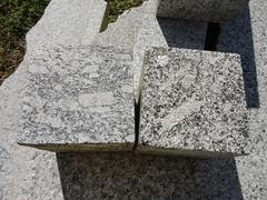Manufacturing industry, cubes of granite close-up Stock Photos
