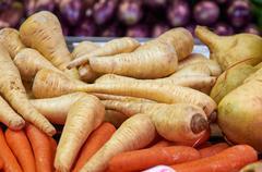 winter white radish and carrots - stock photo