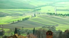 Tuscany landscape: countryside of Siena, Florence, Val d'Orcia - stock footage