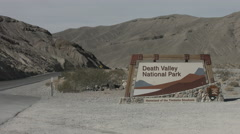 Death Valley National Park entry sign Stock Footage