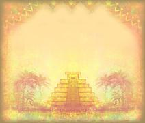 mayan pyramid, chichen-itza, mexico - grunge abstract frame - stock illustration