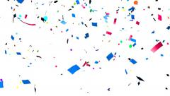 Multi-colored confetti falling, holiday abstract background - stock footage
