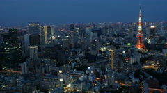 Time Lapse of Skyline with Tokyo Tower at Night - Tokyo Japan Stock Footage