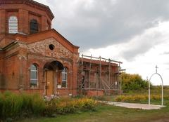 restoration of an orthodox church - stock photo