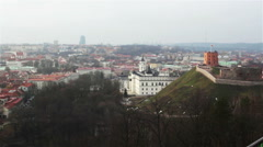 Vilnius Old Town in winter. Panoramic view from the observation deck, C Stock Footage