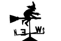 witch on broomstick weather vane - stock illustration