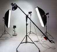 Large photostudio with lighting equipment Stock Photos