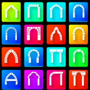 Colored icons collection of arches - stock illustration