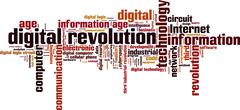 digital revolution word cloud - stock illustration
