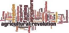 agricultural revolution word cloud - stock illustration