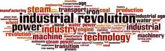 industrial revolution word cloud - stock illustration