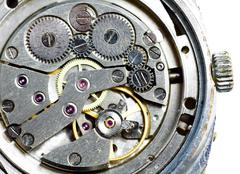 macro of old worn watches, abstract technology background - stock photo