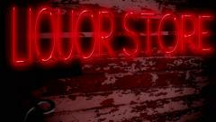 Liquor Store Neon Sign Red Stock Footage