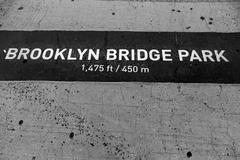 Brooklyn bridge park signl painted on floor in ny Stock Photos
