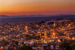San miguel de allende mexico miramar overlook sunset parroquia archangel chur Stock Photos