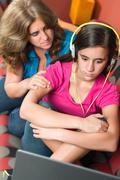 Mother tries to comfort her sad teenage girl Stock Photos