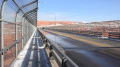 Arizona Glen Canyon Dam bridge traffic winter HD 052 Stock Footage