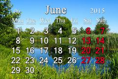 Calendar for june of 2015 with forest lake Stock Illustration