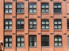 brooklyn brickwall facades in new york - stock photo
