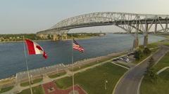 Blue Water Bridge International Border Stock Footage