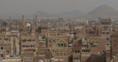 Panoramic Shot of Old City of Sana'a And Al-Saleh Mosque (4K) - stock footage