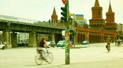 Speeding subway train incoming Oberbaumbruecke longest bridge of Berlin Arkistovideo