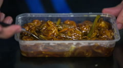 Boxed lunch spicy food Stock Footage