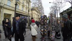 People on the famous Champs Elysees in Paris, France. Stock Footage