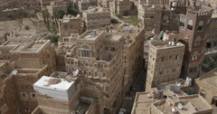 High Angle of the Cityscape of old Sana'a, Yemen (4K) - stock footage