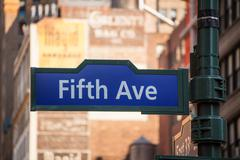 Fift avenue sign 5 th av new york mahnattan Stock Photos