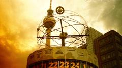 World clock in Alexanderplatz in Berlin,Time lapse, - stock footage