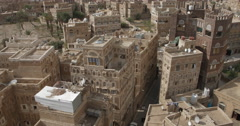 High Angle of the Cityscape of old Sana'a, Yemen (4K) Stock Footage