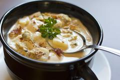 new england clam chowder - stock photo