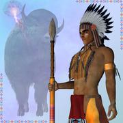 Indian standing buffalo Piirros