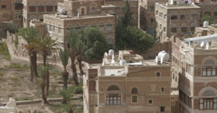 Close Up Pan of northern edge of old Sana'a, Yemen (4K) Stock Footage