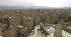 Panoramic Cityscape of the Alfulihi neighborhood in old Sana'a, Yemen (4K) Stock Footage