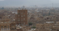 Panning shot of Historical old Sana'a, Yemen (4K) - stock footage