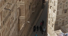 High Angle of a narrow lane in old Sana'a, Yemen (4K) - stock footage