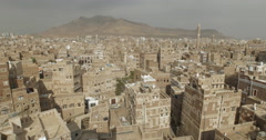 High Angle Cityscape of Eastern old Sana'a, Yemen (4K) Stock Footage